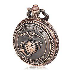 メンズ海兵隊パターン青銅合金クォーツ懐中時計