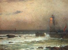 "Jakub Schikaneder (1855-1924) ~ ""Seascape with Lighthouse"""