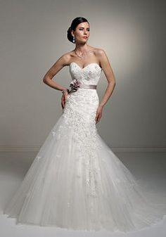 Exquisite Long Fit N Flare Natural Waist Tulle Chapel Train Wedding Gowns - 1300101100B - US$219.99 - BellasDress NEEDS ZIIPPER