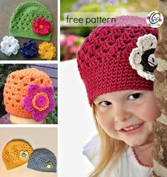 Free and easy crochet beanie pattern for baby to adult large. Includes interchangeable flowers too.