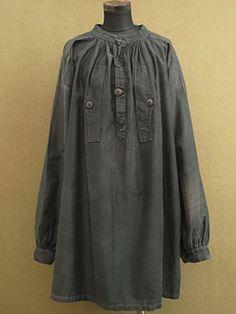early 20th c. black cotton work smock - ヨーロッパ古着店 「Mindbenders&Classics」