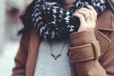 JennifHsieh #Outfit | Brown Coat, Brown/White/Gray Knit Scarf, Eagle Necklace