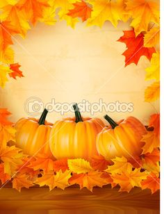 Pumpkins on wooden background with leaves. Autumn background. Vector. — Stock Vector © almoond #12780942