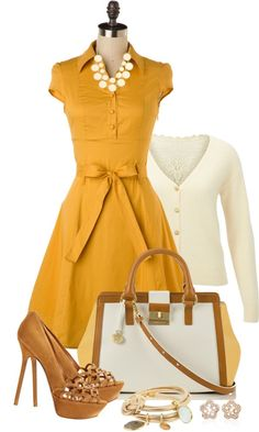 """Yellow Dress"" by averbeek on Polyvore/This would be a great look for a Christmas party throw some crimson here and there and your good to go!"