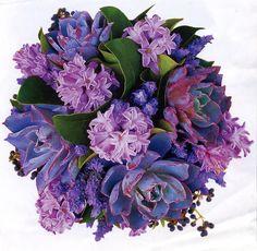 Succulents, hyacinth, lavender,privet berry bouquet
