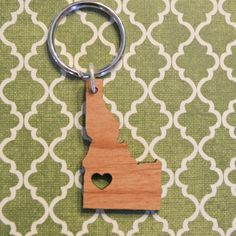 Boise Idaho Wood Love Key Ring by cascacoumo on Etsy, $6.00
