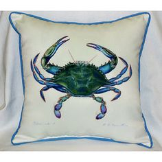 Blue Crab Pillow - perfect on your seaside deck!  $42.99