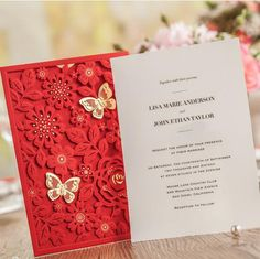Cheap card adapter, Buy Quality card skimmer directly from China card torch Suppliers: 	(10 pieces/lot) New Red Wedding Invitation Card With Gold Butterfly Lacer Cutting Flowes Invitations For Wedd