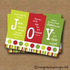 "Christmas PRINTABLE DIY ""JOY"" Scripture Bible Verse Christmas Card."