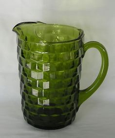 Green Whitehall glass pitcher....my mom's  pitcher I still use.