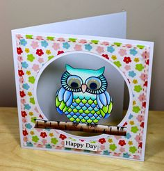 SRM Stickers: What a Hoot! Stamped card by Cathy A.and WINNERS!