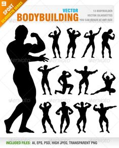 Bodybuilding  #GraphicRiver         Vector set of 13 different bodybuilder poses.  	 Ai, eps, psd, high jpeg and transparent png files included in the zip file.  	 Each silhouette included in different layer for ai, eps and psd documents.  	 You can see other sport silhouettes from my portfolio..  	 Please, dont forget to rate my vectors! Thank you    SPORT                                          Created: 8September13 GraphicsFilesIncluded: PhotoshopPSD #TransparentPNG #JPGImage #VectorEPS…