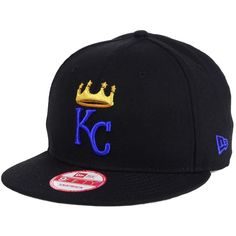 New Era Kansas City Royals De Customs 9FIFTY Snapback Cap ($32) ❤ liked on Polyvore featuring men's fashion, men's accessories, men's hats, black, mens caps and hats, mens snapback hats and mens flat hats