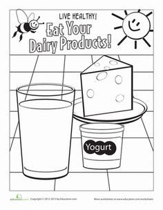 Kindergarten Coloring Life Learning Worksheets: Dairy Coloring Page