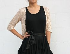 Silver Sequined Bolero Shrug 3/4 sleeves for Formal by SevenBlooms, $40.00
