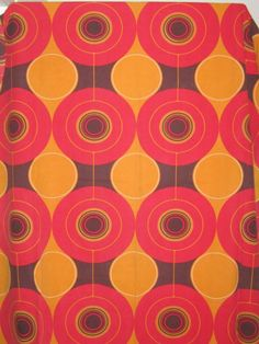 Vintage curtains Retro - VINTAGE RETRO 60s COTTON SINGLE CURTAIN Funky circles... #Vintagecurtains #Retro