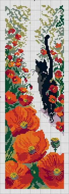 Black cat in garden with tail in the air.  Surrounded by poppies.  Graph given for needlepoint.