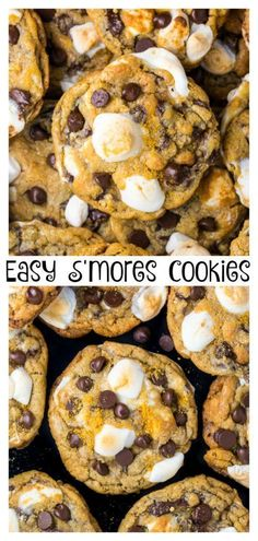 S'mores Chocolate Chip Cookies are thick, chewy, and loaded with so much gooey goodness. Easy to make and no chilling required! S'mores Chocolate Chip Cookies S'mores Chocolate Chip Cookies Smores Cookies, Chocolate Cookies, The Best Chocolate Chip Cookies Recipe Ever, Smore Cookie Recipe, Recipes With Chocolate Chips, Gourmet Cookies, Brownie Cookies, Fun Cookies, Oatmeal Cookies