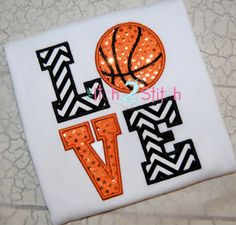 Monogrammed Girls LOVE Basketball Shirt by AuntieBsBoutique87, $22.00
