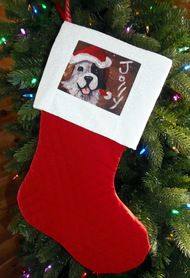 """Jolly""  Saint Bernard   Large Christmas Stocking By Dawn Johnson"