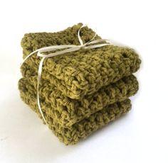Handmade Dish Cloths Kitchen Dishcloths Olive Green Eco Friendly Cotton Crochet Set of 3