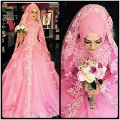 2016 New Design Pink Ball Gown Saudi Arabia Abaya Muslim Wedding Dresses Organza with Appliques Beaded Elegant Wedding Gowns Robe de mariage