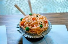 It looks exactly like a bowl of ramen! But it's not: it's a cupcake! :D (IMAGE ONLY)