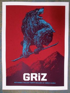 Original silkscreen concert poster for Griz at the Boulder Theater in Boulder, CO in 2014. 18 x 24 inches. Signed and numbered limited edition of only 100.  Art by John Vogl.