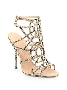 584066f29 Sergio Rossi - Crystal   Suede Puzzle Sandals
