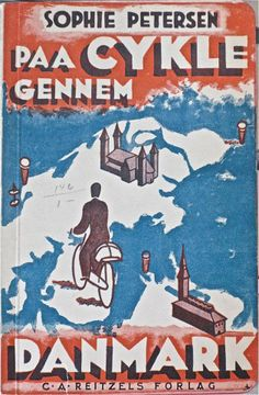 Book cover - Paa cykle gennem Danmark // Biking through Denmark (1931). The pocket sized book was based on a series of radio programmes.