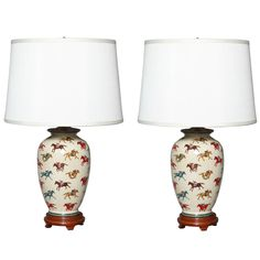 Pair of Equestrian Ceramic Table Lamps | From a unique collection of antique and modern table lamps at https://www.1stdibs.com/furniture/lighting/table-lamps/