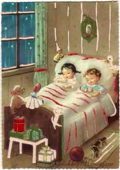 "Vintage Christmas / ""Not a creature was stirring ."" Remember the night and the moon and my brother whispering so we didn't wake the younger ones, There is no Santa Claus, I kept getting out of the bed and looking out the window :( Vintage Christmas Images, Old Christmas, Christmas Scenes, Old Fashioned Christmas, The Night Before Christmas, Victorian Christmas, Retro Christmas, Vintage Holiday, Christmas Pictures"