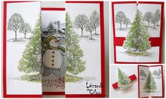 "2 folds to create a Fir tree front with ""snowman"" scene and ""trees"" stamp on the inside. Layer on a coloured cardstock (blue or red or even green)"