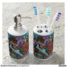 Rainbow Mermaid Soap Dispenser And Toothbrush Holder