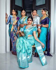 The Best Toronto Lehenga Shopping Guide - South Indian Silk Saree, Blue Silk Saree, Indian Bridal Sarees, Wedding Silk Saree, South Indian Bride, Silk Sarees, Tamil Wedding, Banaras Sarees, Bridesmaid Saree
