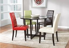 picture of Mabry Espresso 5 Pc Dining Room w/Red Chairs  from Dining Room Sets Furniture