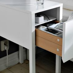 """""""This bedside table can hide a power strip for lamps, mobile phone chargers, etc. and the cord can be hidden in one of the back legs. NORDLI has all the good features that make it so easy to like. Every day."""" - Ola Whilborg, Designer'Featured Products  NORDLI (Source: everyday.ikea.com)"""