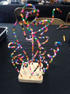 Wire sculpture with perler beads.