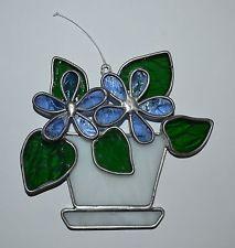 Stained Glass Suncatcher, flowers in a flower pot, blue