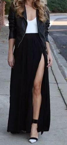 maxi falda con tajo - pollera larga - muy chic!