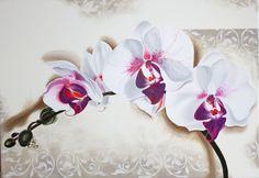 Quadro moderno Orchidea dipinto su tela ad olio