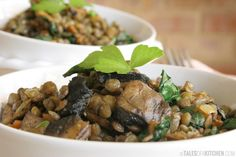 French lentils warm salad with spinach and mushrooms