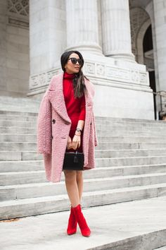 Pink coat and red dress combination for fall.