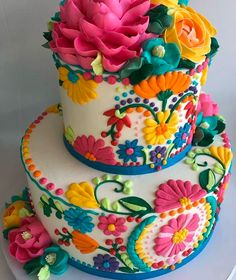 The White Flower Cake Shoppe ( Pretty Cakes, Cute Cakes, Beautiful Cakes, Amazing Cakes, Mexican Birthday Parties, Mexican Party, Mexican Cakes, Mexican Themed Cakes, Mexican Fiesta Cake