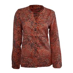 320385d3871688 Geprintete Bluse aus 100% Bio-Baumwolle mit farbigem Muster. - 100% Bio