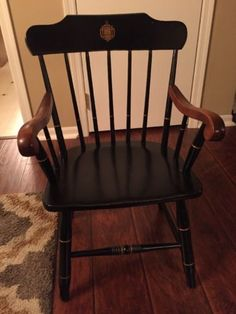 RARE-US-Naval-Academy-Annapolis-Windsor-Captain-039-s-Chair-S-Bent-amp-Brothers
