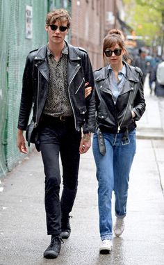 Dakota Johnson & Matthew Hitt from The Big Picture: Today's Hot Pics The matching moto jacket couple take a walk in the rain on their way to lunch in the East Village of NY.