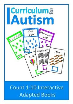 This set contains 3 Interactive Adapted Counting to 10 books for students with autism and special needs:Count....How Many?I see......Instructions for how to prepare these books is included in the pdf.The pages of the books are not numbered so that you can bind them in numerical order or mixed.You might also like:Count 1-10 Visual Clip CardsCount 11-20 Clip cardsa…