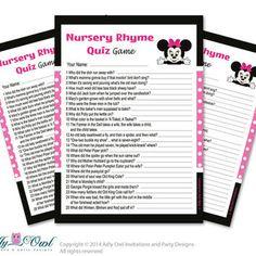 Girl Minnie Mouse Nursery Rhyme Game, Find Rhyme Game Quiz for Baby shower  Minnie Mouse  Shower DIY Black Pink Polka- oz09bs45