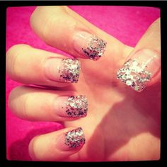 Glitter french acrylic nails